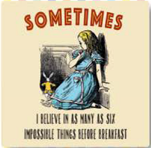 Alice In Wonderland Sometimes I Believe In As Many As Six Impossible... drinks mat / coaster (og)